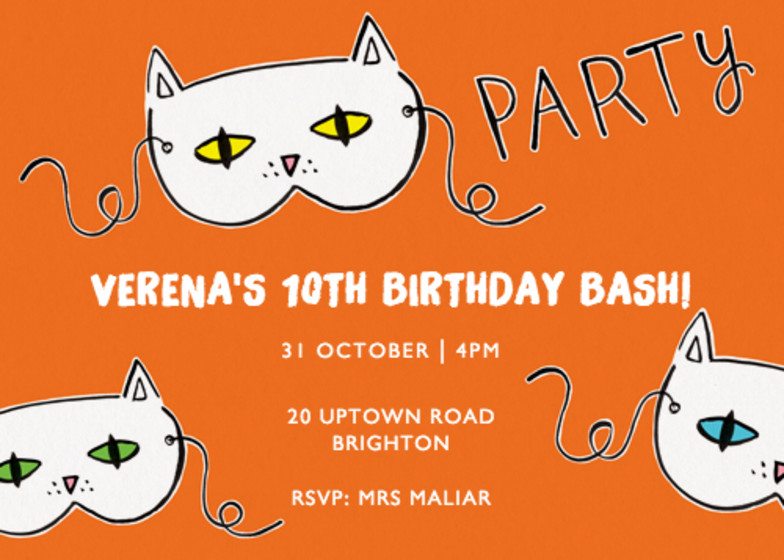 Cat Masks | Personalised Party Invitation