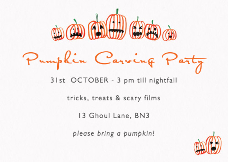 Halloween Pumpkins | Personalised Party Invitation