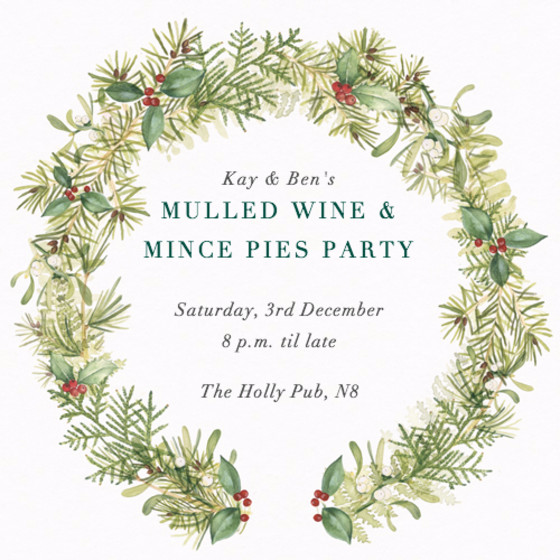 Christmas Wreath   Personalised Party Invitation