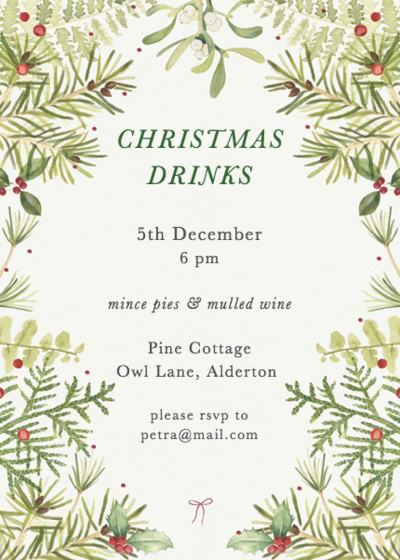 Christmas Greenery   Personalised Party Invitation