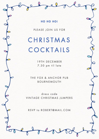 Christmas Lights   Personalised Party Invitation