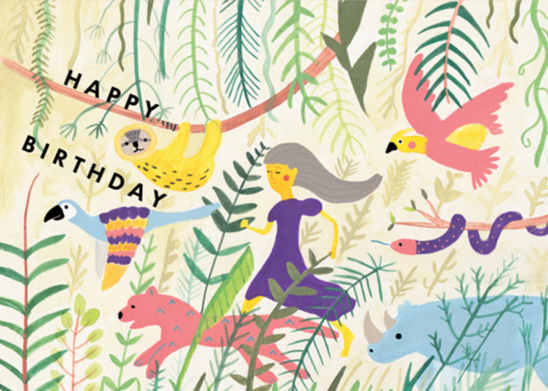 Jungle Birthday   Personalised Birthday Card