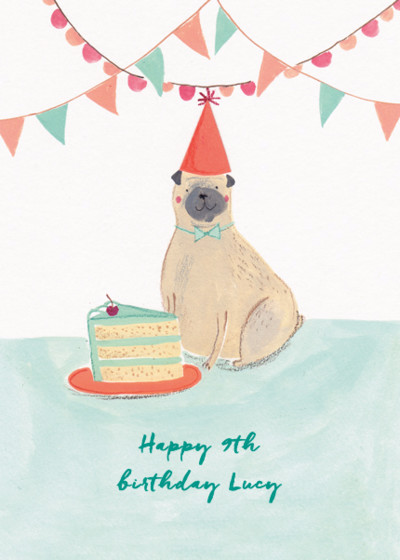 Birthday Pug | Personalised Birthday Card