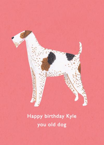 Fox Terrier   Personalised Birthday Card