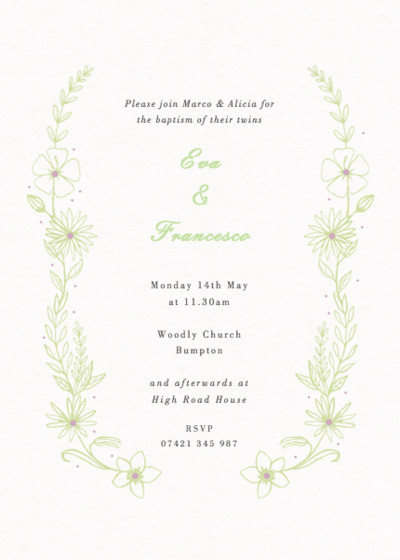 Summer Meadow | Personalised Christening Invitation