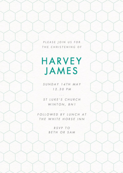 Honeycomb Bubbles | Personalised Christening Invitation