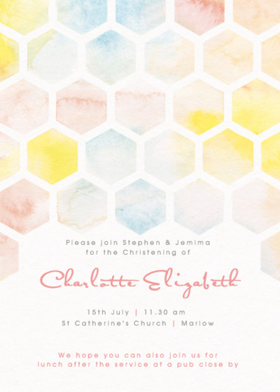 Honeycomb Watercolour | Personalised Christening Invitation