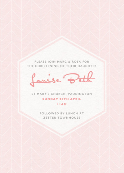 Herringbone Blush | Personalised Christening Invitation