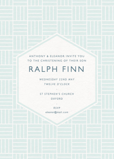 Basketweave | Personalised Christening Invitation