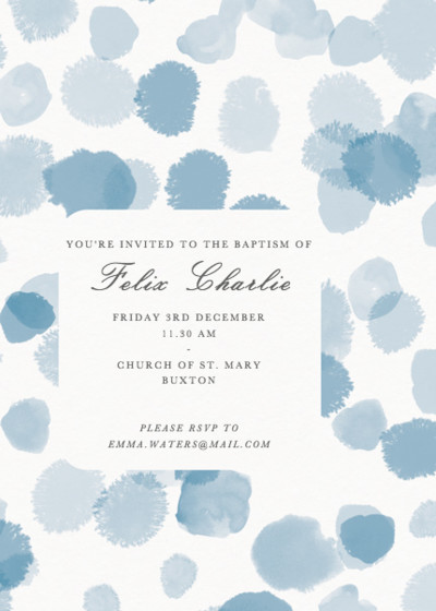 Blue Spots | Personalised Christening Invitation