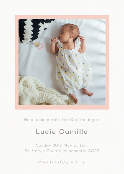 Frame Blush Photo | Personalised Christening Invitation