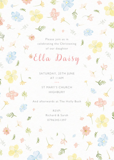 Petite Floral | Personalised Christening Invitation