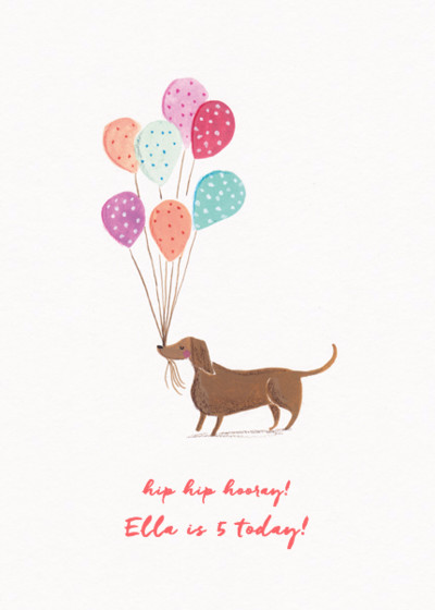 Dachshund With Balloons | Personalised Birthday Card