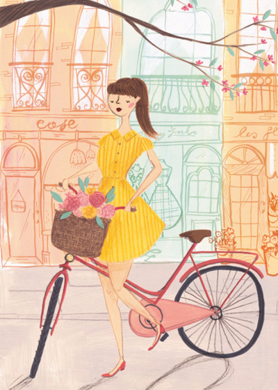 Girl With Bicycle | Personalised Greeting Card