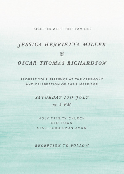 Aqua Ombré | Personalised Wedding Invitation