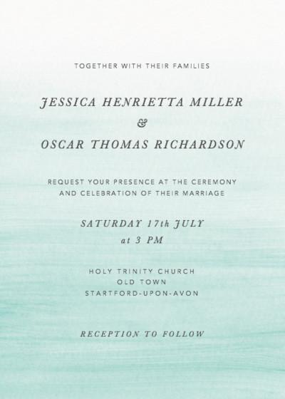 Aqua Ombré | Personalised Wedding Invitation