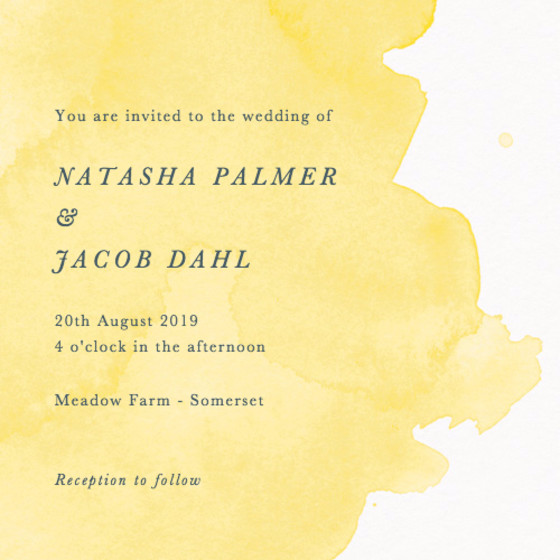 Buttercup Watercolour | Personalised Wedding Invitation