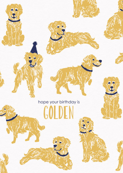 Golden Birthday Birthday Card Papier