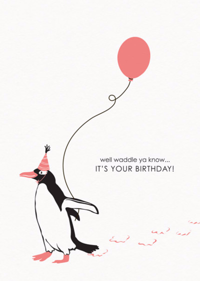 Birthday Penguin | Personalised Birthday Card