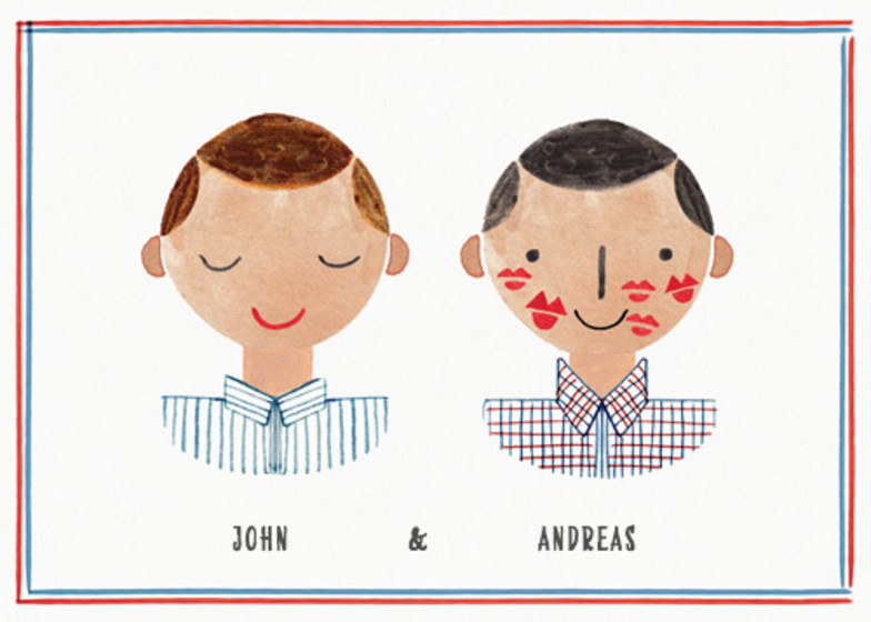 Couple Kisses Mr & Mr | Personalised Congratulations Card