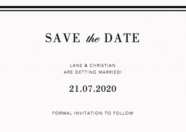 Double Ribbon | Personalised Save The Date