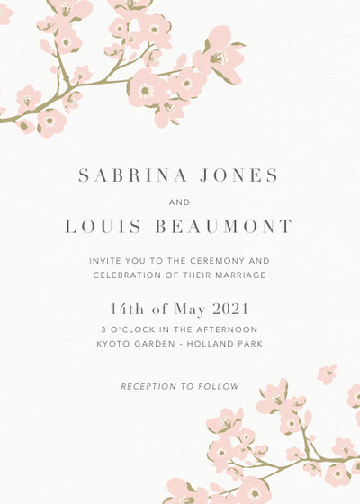 Cherry Blossoms | Personalised Wedding Invitation