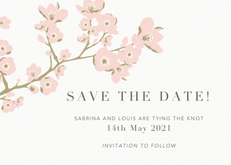 Cherry Blossoms   Personalised Save The Date