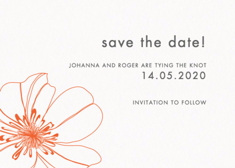 Red Hibiscus | Personalised Save The Date