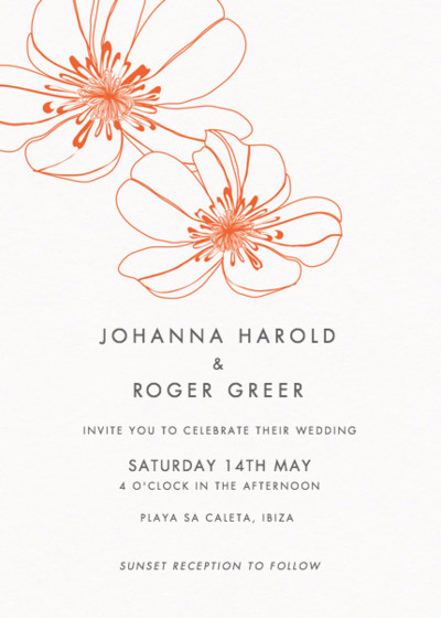 Red Hibiscus   Personalised Wedding Invitation