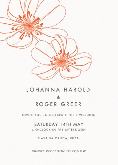 Red Hibiscus | Personalised Wedding Invitation