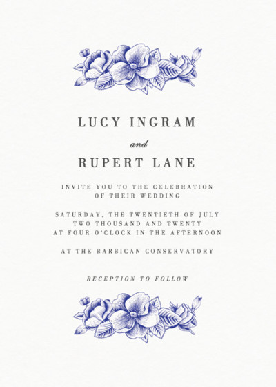 Blue Hydrangea | Personalised Wedding Invitation