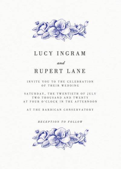 Blue Hydrangea | Personalised Wedding Invitation