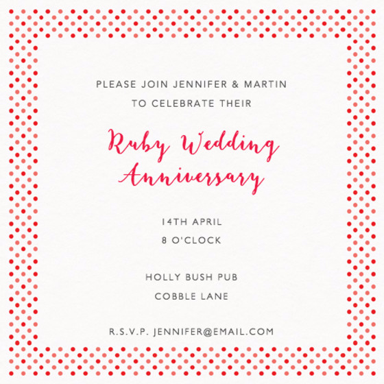 Dotty Red | Personalised Anniversary Invitation