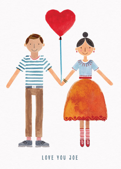 Couple With Heart Balloon | Personalised Greeting Card