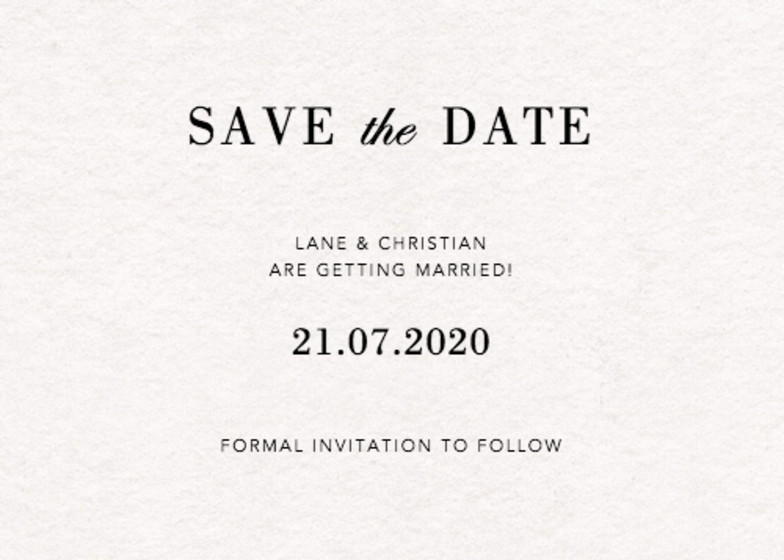 Simple | Personalised Save The Date
