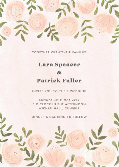 Blush Florals   Personalised Wedding Invitation