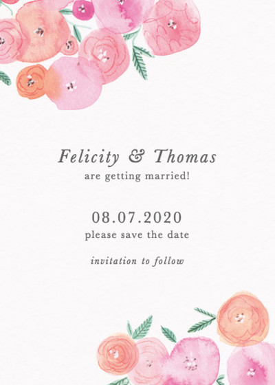Spring Ranunculus | Personalised Save The Date