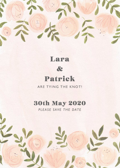 Blush Florals   Personalised Save The Date