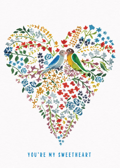 Love Birds Heart   Personalised Greeting Card