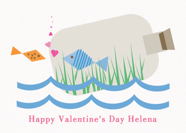 Love In A Bottle | Personalised Greeting Card