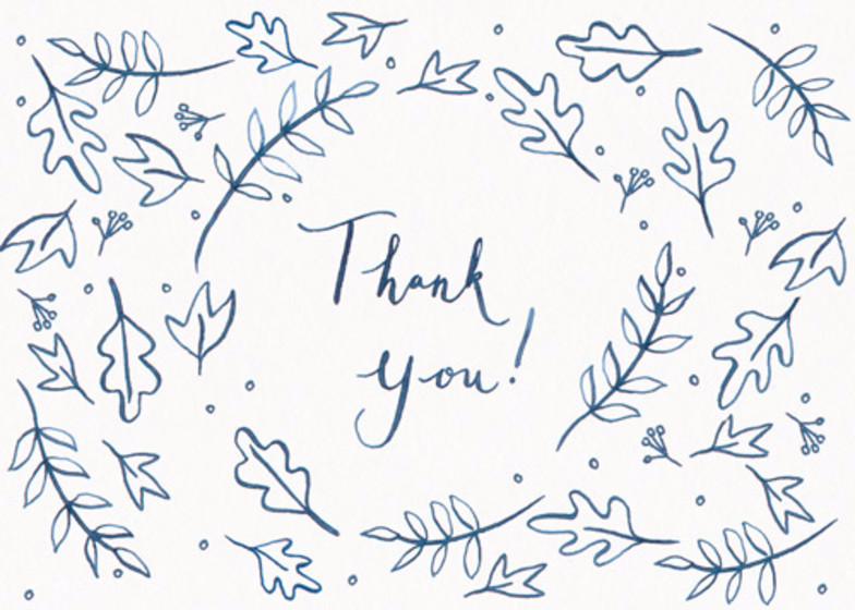 Leafy Thank You   Personalised Thank You Card