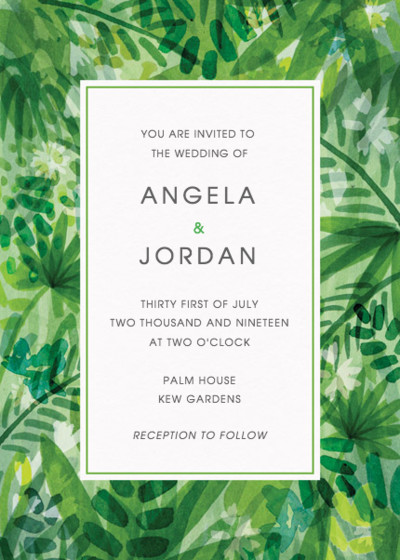 Jungle Foliage | Personalised Wedding Invitation