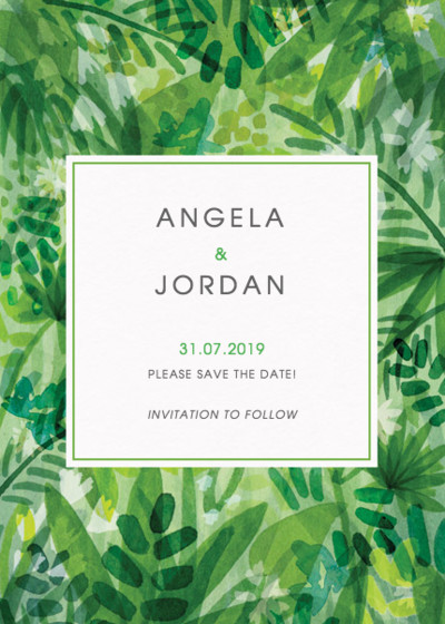 Jungle Foliage | Personalised Save The Date
