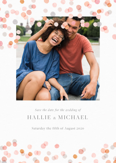 Blush Confetti | Personalised Save The Date