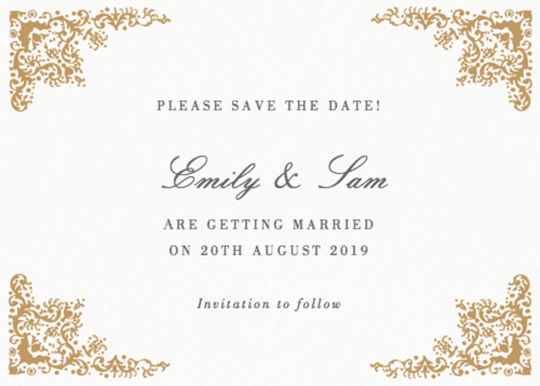 Rococo | Personalised Save The Date