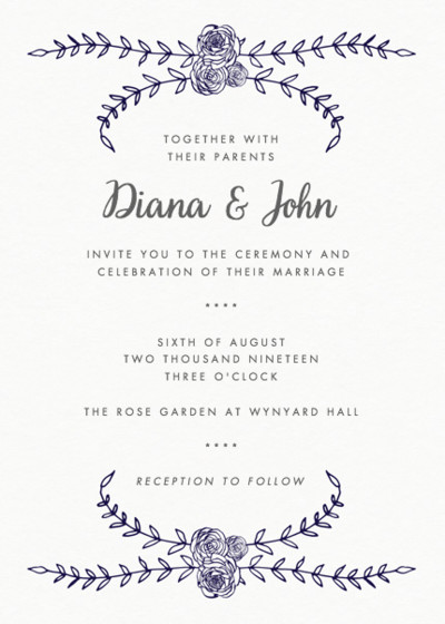 Charleston Rose | Personalised Wedding Invitation