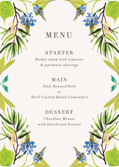 Blue Spring | Personalised Menu