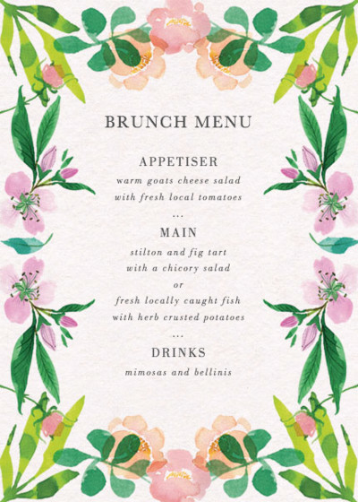 Spring Roses | Personalised Menu
