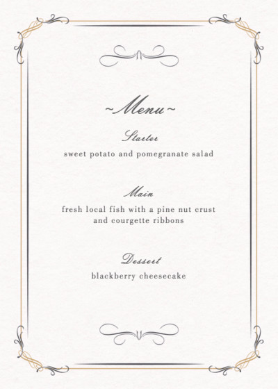 Filigree | Personalised Menu