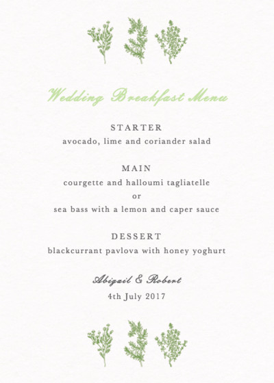 Sprigs | Personalised Menu